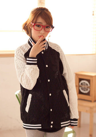 "Lace ""G"" Black White Varsity Jacket"