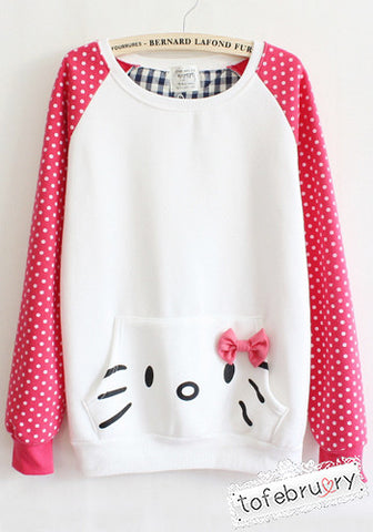 Hello Kitty Polka Dot Long Sleeves Pullover Top