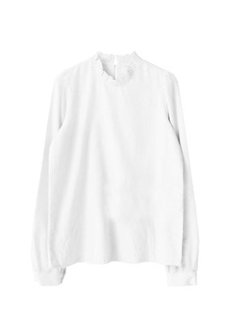 Korean Kpop Fashion f(x) Krystal White Collar Long Sleeves Open Back Blouse