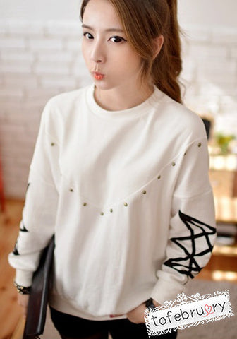 Korean Fashion Studded Lines Top
