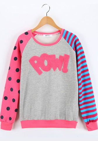 Cute Pow! Polka Dot and Stripes Pattern Pullover Top
