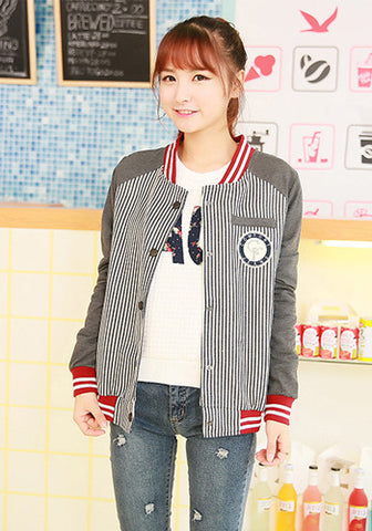 Comfort Jeans Striped Pattern Baseball Varsity Jacket