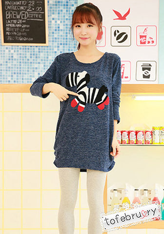 Zebra Pattern Knit Oversized Loose Top