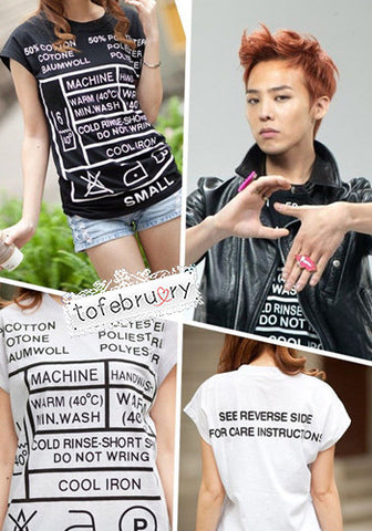 Kpop G-Dragon GD SHINee 2NE1 New Care Label T-Shirt