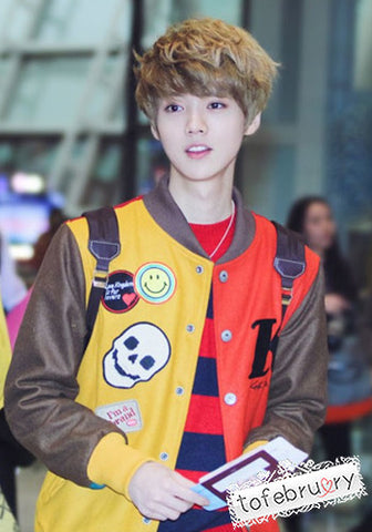 Korean Kpop Band EXO Luhan Mixed Color Cute Varsity Jacket