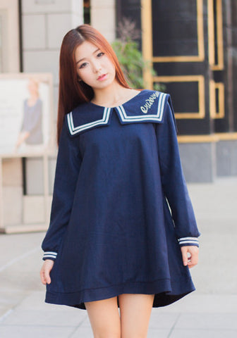 Japanese Style Fashion Navy Sailor Uniform Dress