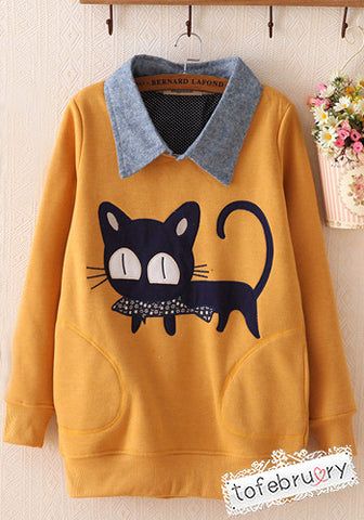 Cat and Fish Mustard Yellow Blue Collar Long Sleeve Pocket Top