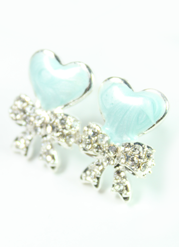 Blue Heart Bow Earrings