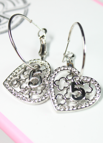 Number 5 and Floral Hearts Hoop Earrings