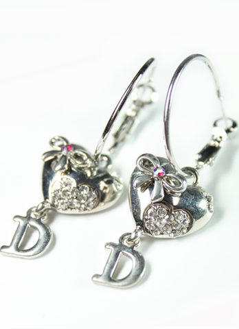 Bow and Heart Letter D Hoop Earrings