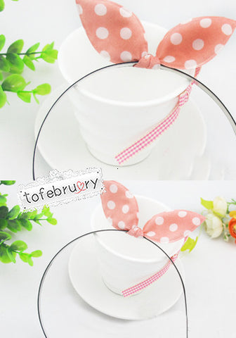 Mini Polka Dot Pattern Pink and White Bow Headband