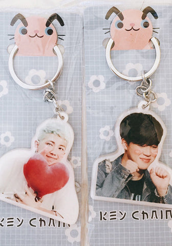 Korean Kpop Band BTS Bangtan Boys Jimin Suga Rap Monster Jin V Jungkook J-Hope Keyring Keychain