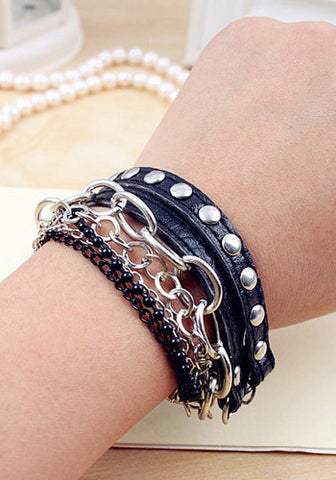 Black Chains and Studs Bracelet