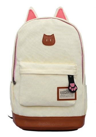 Korean Styled Beige Canvas Backpack