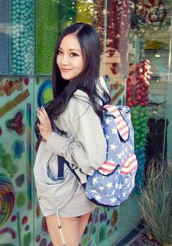 Stars and Stripes American Flag Canvas Backpack