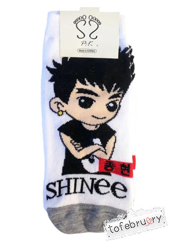 Korean Kpop Band SHINee Member Cartoon Character Socks