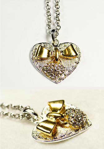 Heart and Gold Bow Necklace