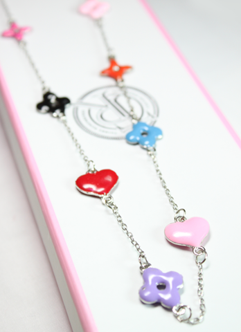 Flower and Heart Charm Necklace