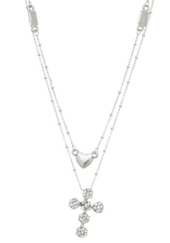 Jewel Cross and Heart Necklace