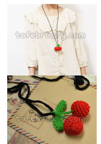 Heaven's Postman Knitted Cherry Necklace