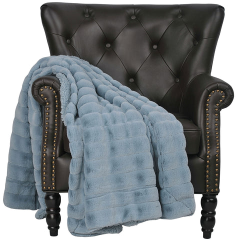 Cypress Linen Ashley Blue 60 x 80 Super Soft Large Sherpa Blanket