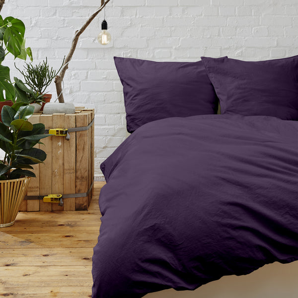 Cypress Linen Collection 1800 Series 3-Piece Eggplant Duvet Sets