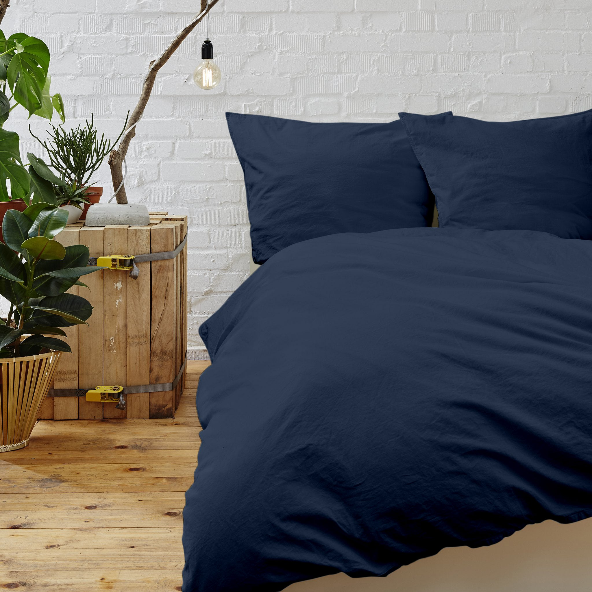 Cypress Linen Collection 1800 Series 3-Piece Navy Duvet Sets