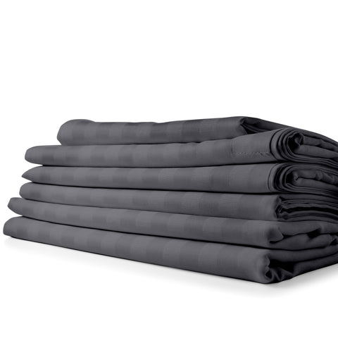 Cypress Linen Dobby Stripe Collection 1800 Series 6 Piece Gray Premium Sheet Sets