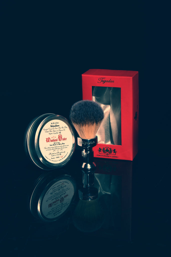 Woodland Umber Shaving Soap and Fortitudinem Brush