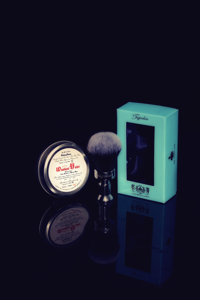 Woodland Umber Shaving Soap and Calliditas Brush
