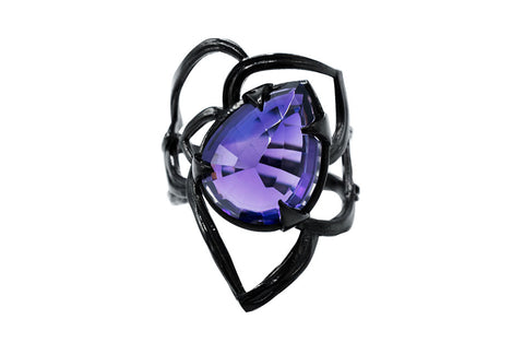 Karen Karch custom rosebud ring in blackened silver with Amethyst