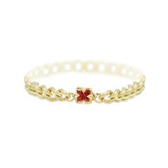 Karch Wolfe Gold-Filled Ruby 'TWINKLE' Chain Ring
