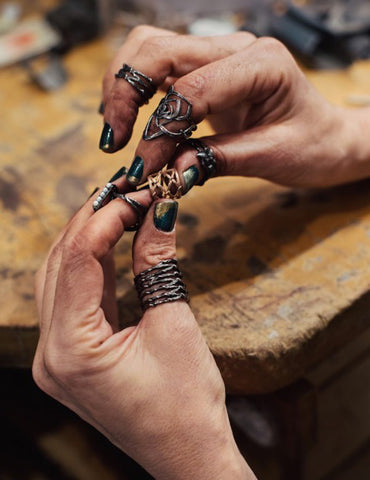 Designer Karen Karch herself working at the bench and showing the gritty and edgy life of a jeweler at the jeweler's bench