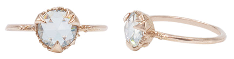 Karch Wolfe jewelry's alternative Mystical Solitaire in 14k rose gold w/ rose cut lab grown or cultured diamond