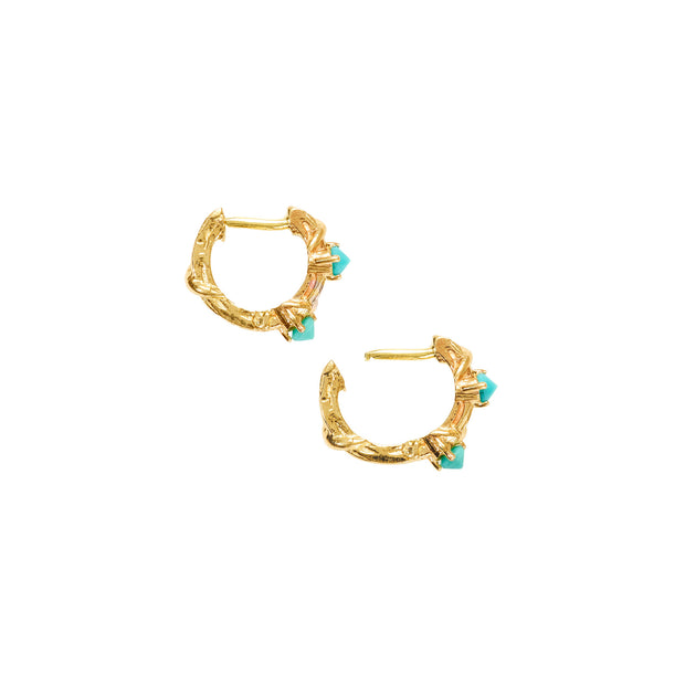 STUDDED TWO STONE VINE HOOP, XS