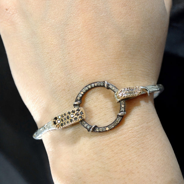 Copacabana Double Clasp Vine Link bracelet designed by New York's most unique alternative jewelry brand Karen Karch Jewelry featuring silver, yellow gold with black, colorless and ice diamonds modeled