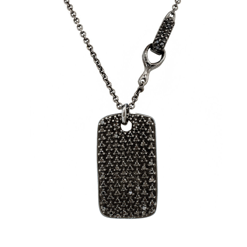 Our gorgeously wicked Diamond-Studded Legend Tag studded in black diamonds is made by New York's most unique jewelry designer Karen Karch