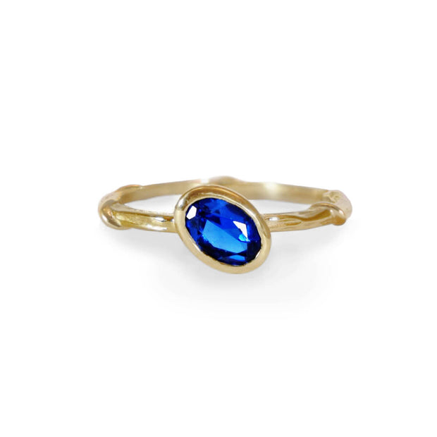 Custom blue sapphire ring made in New York by Karen Karch