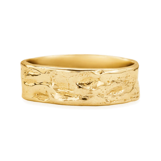 Karen Karch's signature textured men's alternative wedding band in 18K Yellow Gold. This organic, irregular ring measures 7.5 mm perfect for active men or fitness men with it's unique surface that hides wear and tear making it always look new. Truly original and unique men's ring & wedding ring  by local New York jewelry designer. Store located in Manhattan or visit online at www.karenkarch.com to see more adventurous, off beat jewelry for fashionable women and men wanting one-of-a-kind designs.