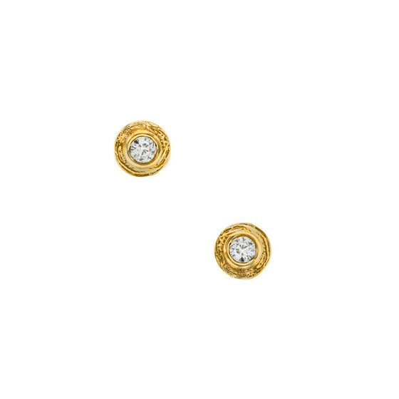 Karen Karch's classic 18k yellow gold Inner Circle earrings with gorgeous colorless diamonds. Made local by New York's best and most trusted jeweler perfect for an anniversary, birthday or holiday gift for any woman looking for alternative jewelry. Shop www.karenkarch.com now!