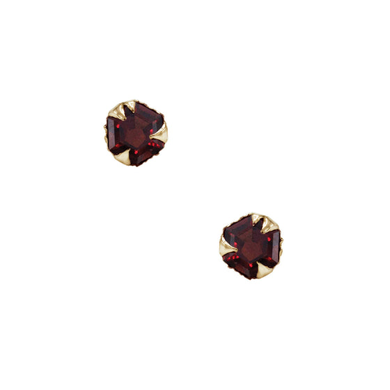 Karch Wolfe Mystical studs, Hexagon (5mm) in yellow gold w/ garnet inspired by Texas desert. Made local in Manhattan by NYC's best alternative jewelry designers.