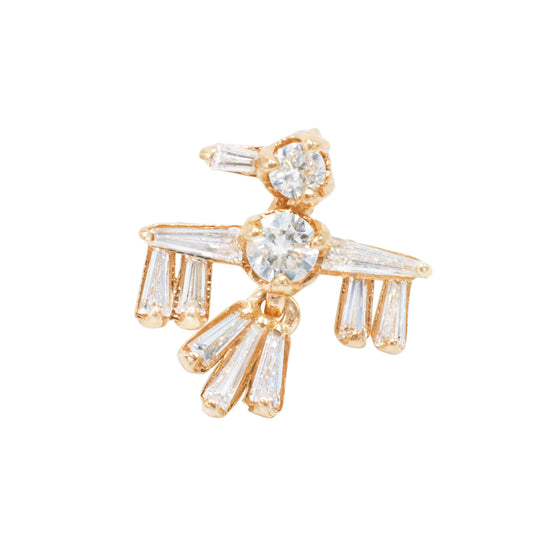 Karen Karch Jewelry Thunder Bird Earring in 18K Rose Gold w/ Baguette Diamonds for Men & Women