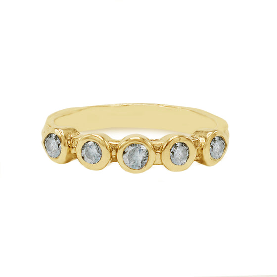 "Karen Karch's timeless ""Grace"" band in 18k Yellow Gold w/ Brilliant Salt and Pepper Diamonds is truly an unforgettable women's wedding ring band studded. Textured band with gray diamonds perfect for any alternative bride looking for a wedding band that is offbeat and unique. Made local in Manhattan by New York's best jeweler. Shop our store located a few blocks away from Gramercy Hotel or visit www.karenkarch.com to see more."
