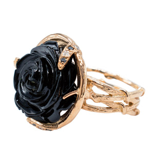 Karen Karch GABRIELLE Black Onyx ROSE, 18k Rose Gold Ring - Made local in New York City by the best alternative jewelry store. Shop more Karen Karch & Karch Wolfe at www.karenkarch.com or visit us at 38 Gramercy Park N.