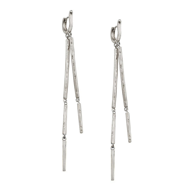 Blade Runner earrings designed by Karen Karch Jewelry in silver featuring two strands of linked textured bars attached to a fitted cuff hoop.