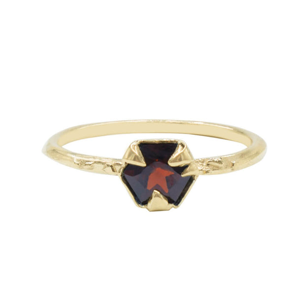 Karch Wolfe 14k Yellow Gold Mystical Hexagon Garnet Solitaire Ring