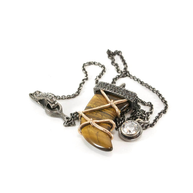 Custom tiger's eye horn necklace by Karen Karch