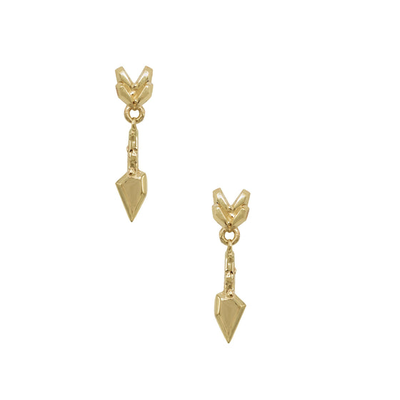 "Karch Wolfe's ""Breakthrough"" earrings in yellow gold are inspired by the folklore of milagros with chain and signature clasp. A chiseled arrow as a physical representation of a wish or an obstacle to overcome. Desert inspired earrings by Texas natives who are now successful New York designers in the heart of Manhattan with a dream. Simple like Catbird but with an edge that is carefully detailed and designed. Shop more at www.karenkarch.com or email sales@karenkarch.com"