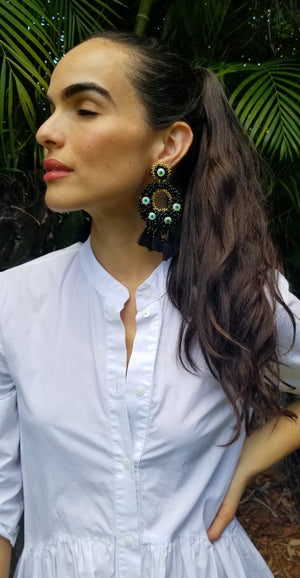 rock + bone handmade statement earrings Alegra Evil Eyes