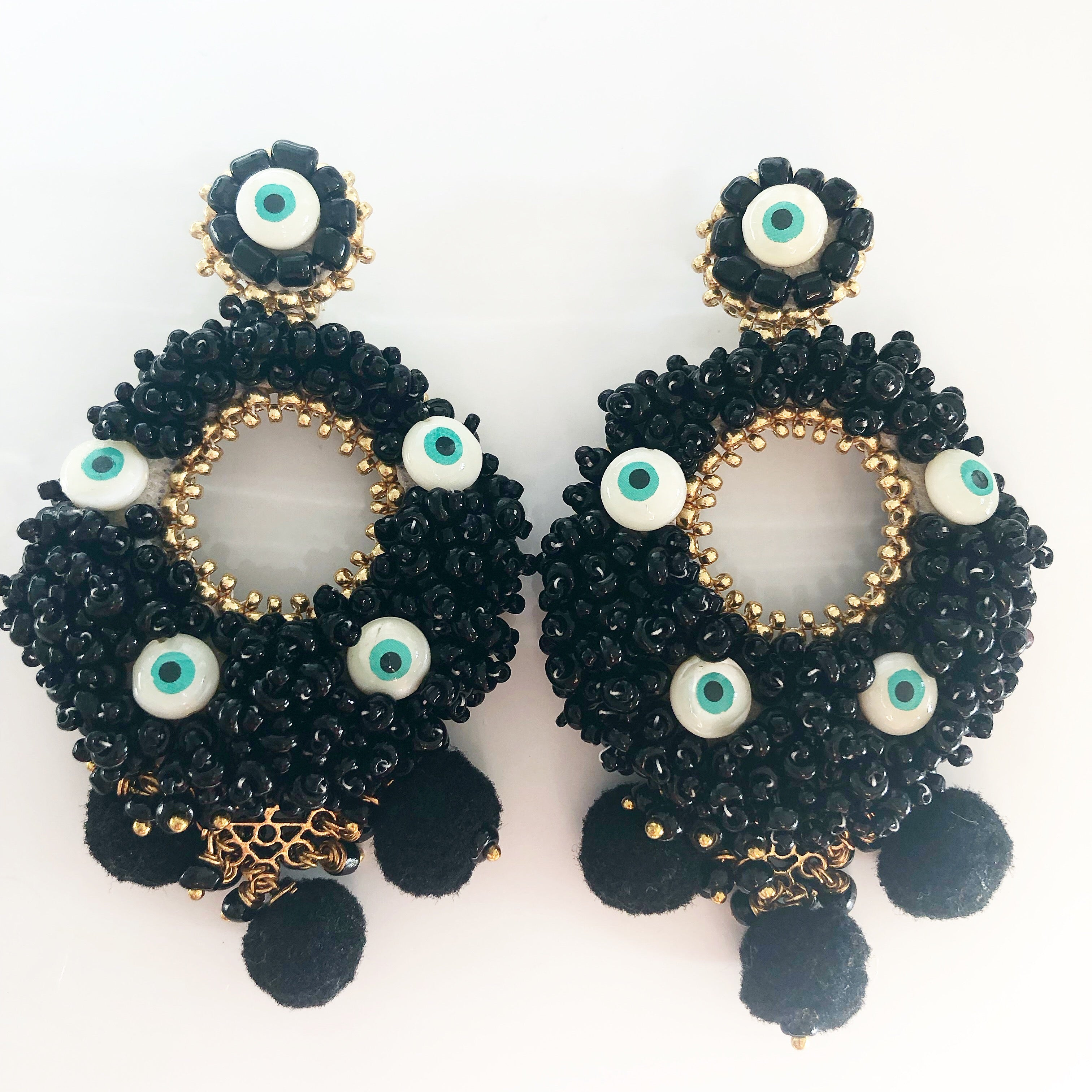 Handmade Statement Earrings - Alegra Evil Eyes